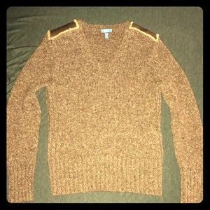 Escada Sport wool sweater with leather shoulders